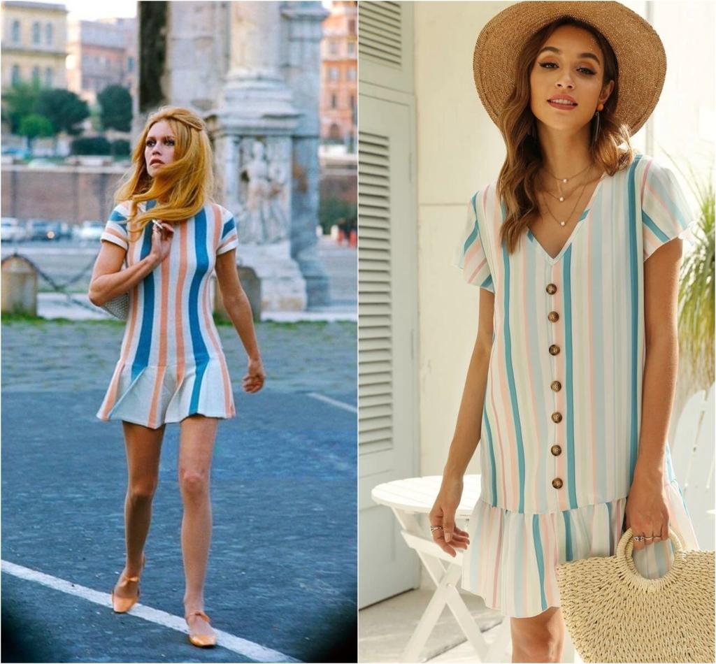 brigitte bardot striped dress